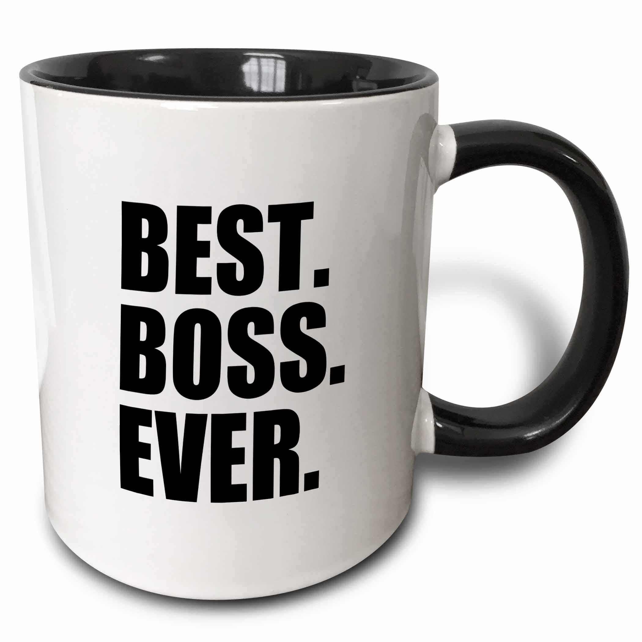 3dRose Best Boss Ever - fun funny humorous gifts for the boss - work office humor - black text, Two Tone Black Mug, 11oz