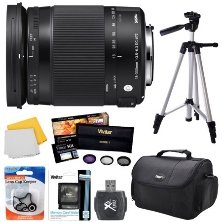 Sigma 18-300mm F3.5-6.3 DC Macro OS HSM Contemporary Lens Nikon DX Mount Bundle