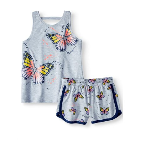 Girls' Graphic Tank Top and Shorts, 2-Piece Outfit Set (Kids Tiger Outfit)