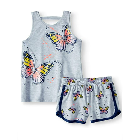 Girls' Graphic Tank Top and Shorts, 2-Piece Outfit Set