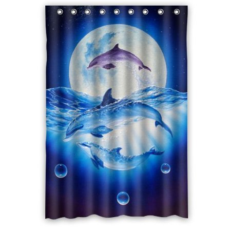 DEYOU Dolphin Shower Curtain Polyester Fabric Bathroom Size 48x72 Inches
