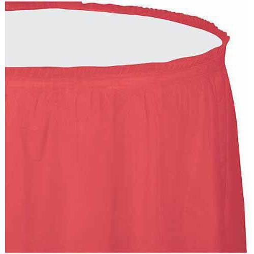 Plastic Table Skirt, Coral