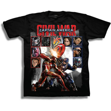 Marvel Comics - Marvel Comics Captain America Civil War Vs Boys  Short  Sleeve T-Shirt - Walmart.com 277cd5d27