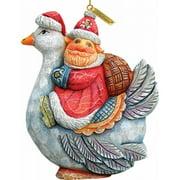 G.Debrekht 63127 General Holiday Santa On Goose Ornament 4 in.