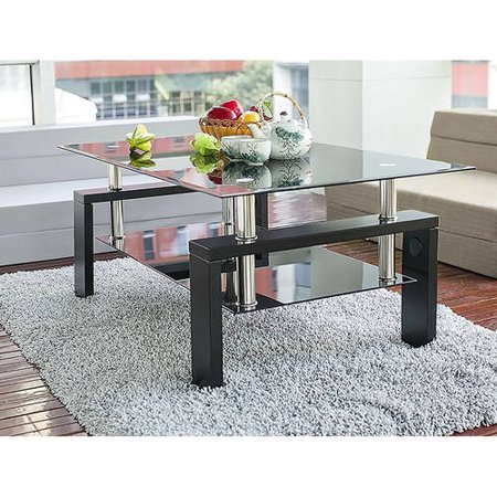 Ean 6930253467159 Merax Contemporary Coffee Tea Table With Black Glass Top And Wooden Legs