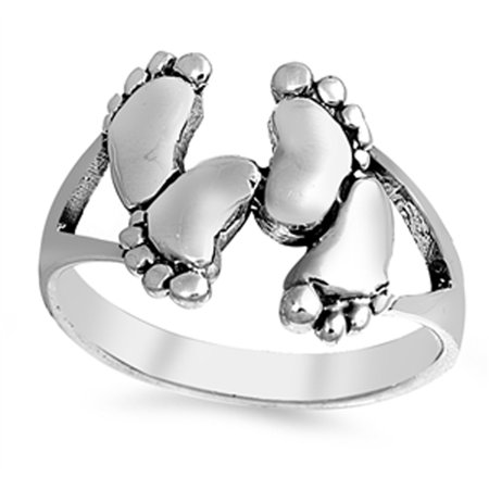 Oxidized Baby Feet Footprint Child Ring New .925 Sterling Silver Band Size 11