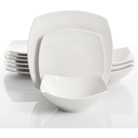 Dinnerware Sets Square (Gibson Home Everyday Square 12-Piece Dinnerware)