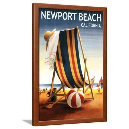 Newport Beach, California - Beach Chair and Ball Framed Print Wall Art By Lantern - Black And White Beach Balls