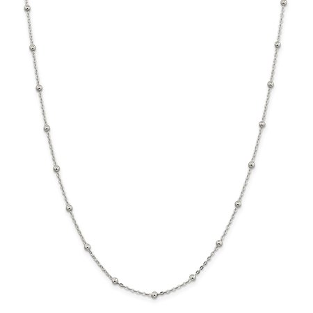 Lex & Lu Sterling Silver 1.3mm Beaded Chain Necklace
