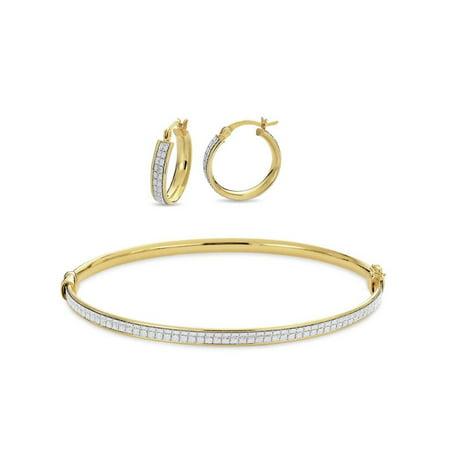 18k Gold Over Sterling Silver Glitter Hoop Earrings And Bangle Set