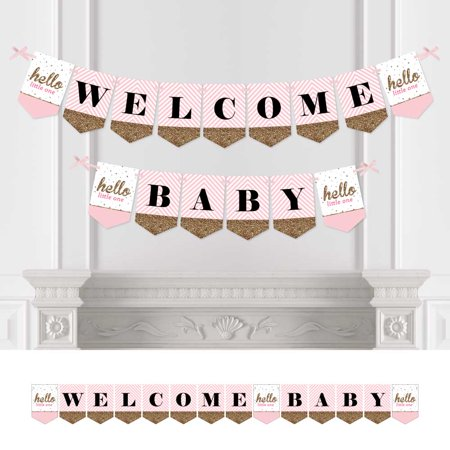 Hello Little One - Pink and Gold - Baby Shower Bunting Banner - Girl Party Decorations - Welcome Baby - Pink And Gold Baby Shower Decorations