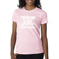 Trendy USA 1475 - Women's T-Shirt Twerking Is My Cardio Workout Booty Shake Medium Red