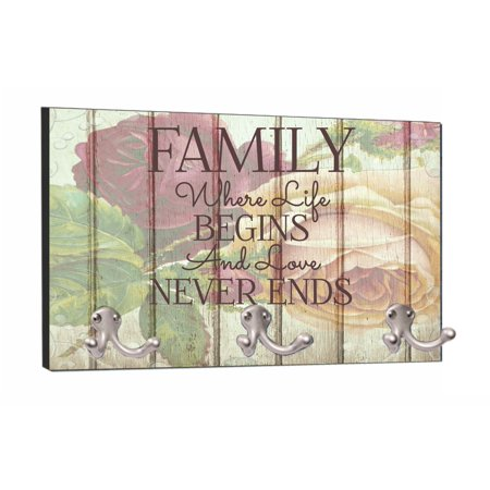 Mountable Hanger - Family - Love Never Ends - Floral Wood Print - 8