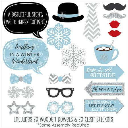 Winter Wonderland - Snowflake Holiday Party & Winter Wedding Photo Booth Props Kit - 20 Count - Winter Wonderland Themed Wedding