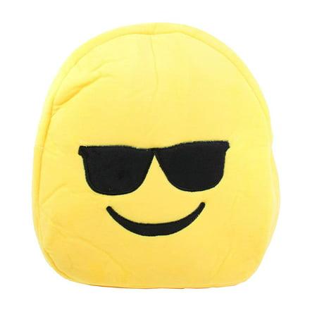 Cute Emoji Smiling Face With Sunglasses Kids Children Backpack Bag Satchel New
