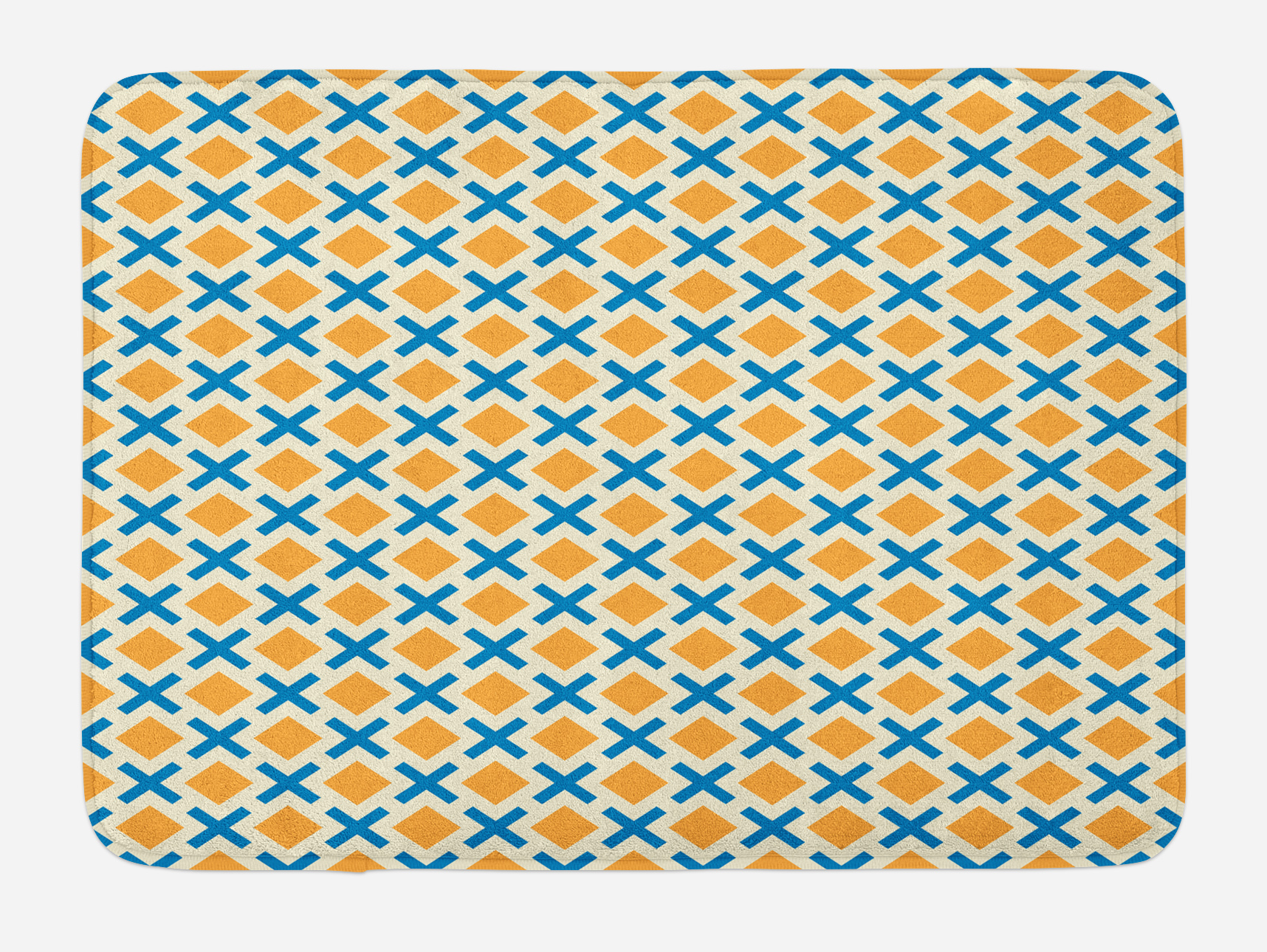 Kids Bath Mat, Checked Pattern with Dashed Lines and Squares Diagonal Geometrical Retro... by 3decor llc