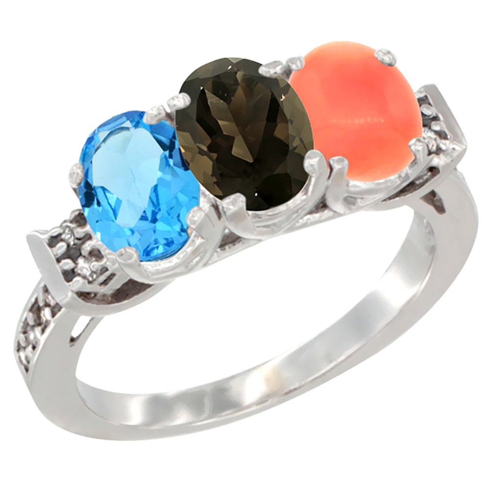 10K White Gold Natural Swiss Blue Topaz, Smoky Topaz & Coral Ring 3-Stone Oval 7x5 mm Diamond Accent, sizes 5 10 by WorldJewels