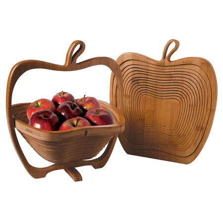 Collapsible Apple Shaped Bamboo Basket - Kitchen Fruit Centerpiece Bowl Decor