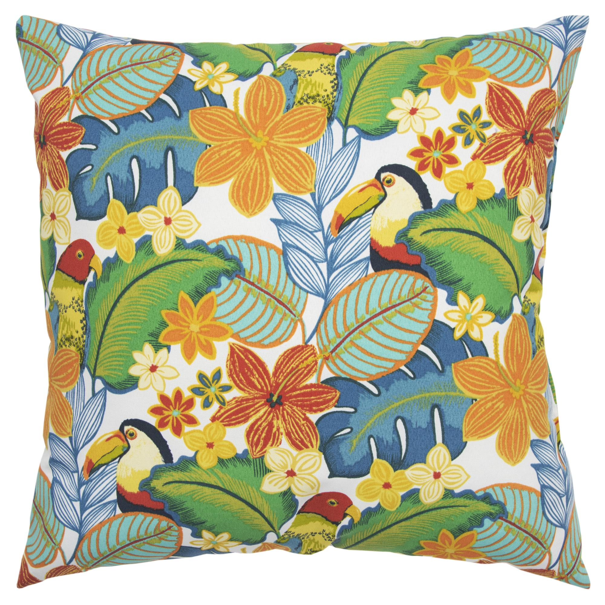 "Rizzy Home Decorative Poly Filled Throw Pillow Floral 22""X22"" Green"