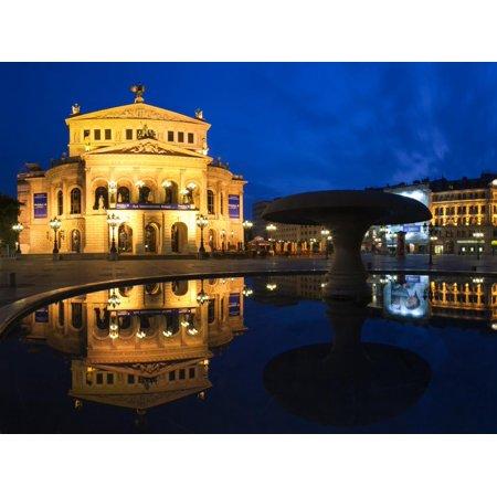 Alte Oper Reflecting in Lucae Fountain, Frankfurt, Hesse, Germany Print Wall Art - Halloween Frankfurt Germany