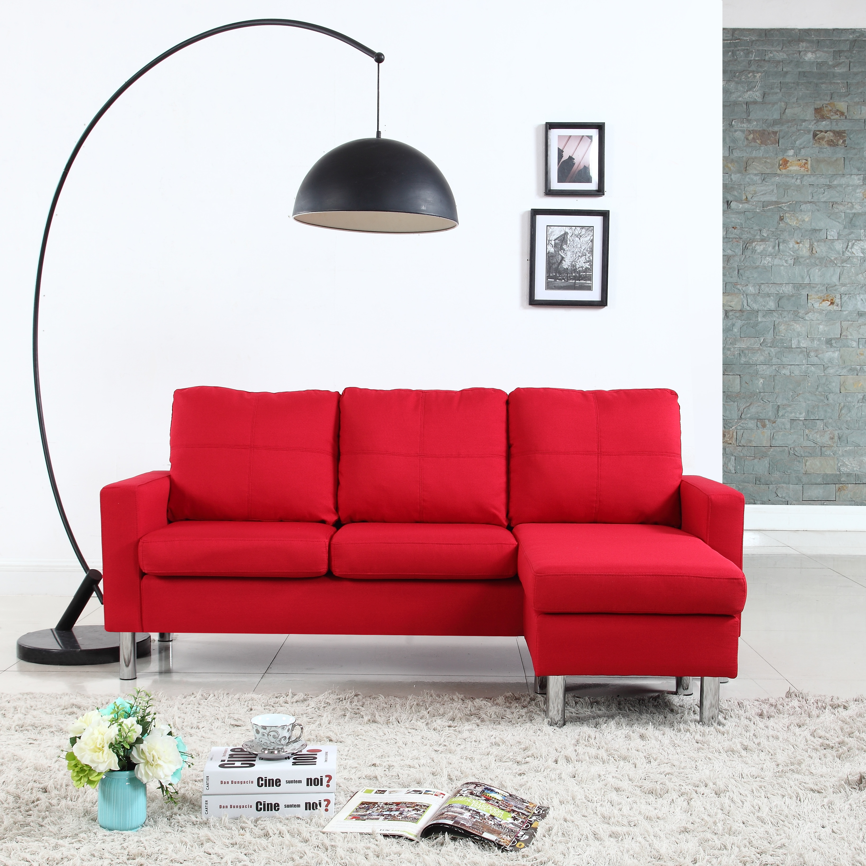 Product Image Modern Reversible Small Space Configurable Linen Sectional  Sofa