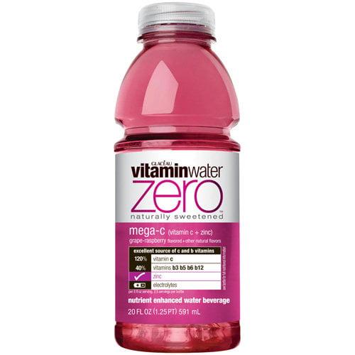 Glaceau Zero Vitamin Water Mega-C Grape Raspberry, 20 Fl Oz
