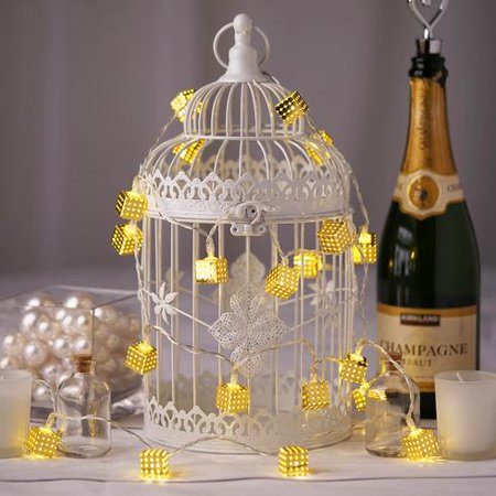 BalsaCircle 8 ft 20 Gold LED Fairy Lights with Metal Cubes Battery Operated Garland - Wedding Party Decorations Backdrops Supply - Halloween Decorations For Office Cube