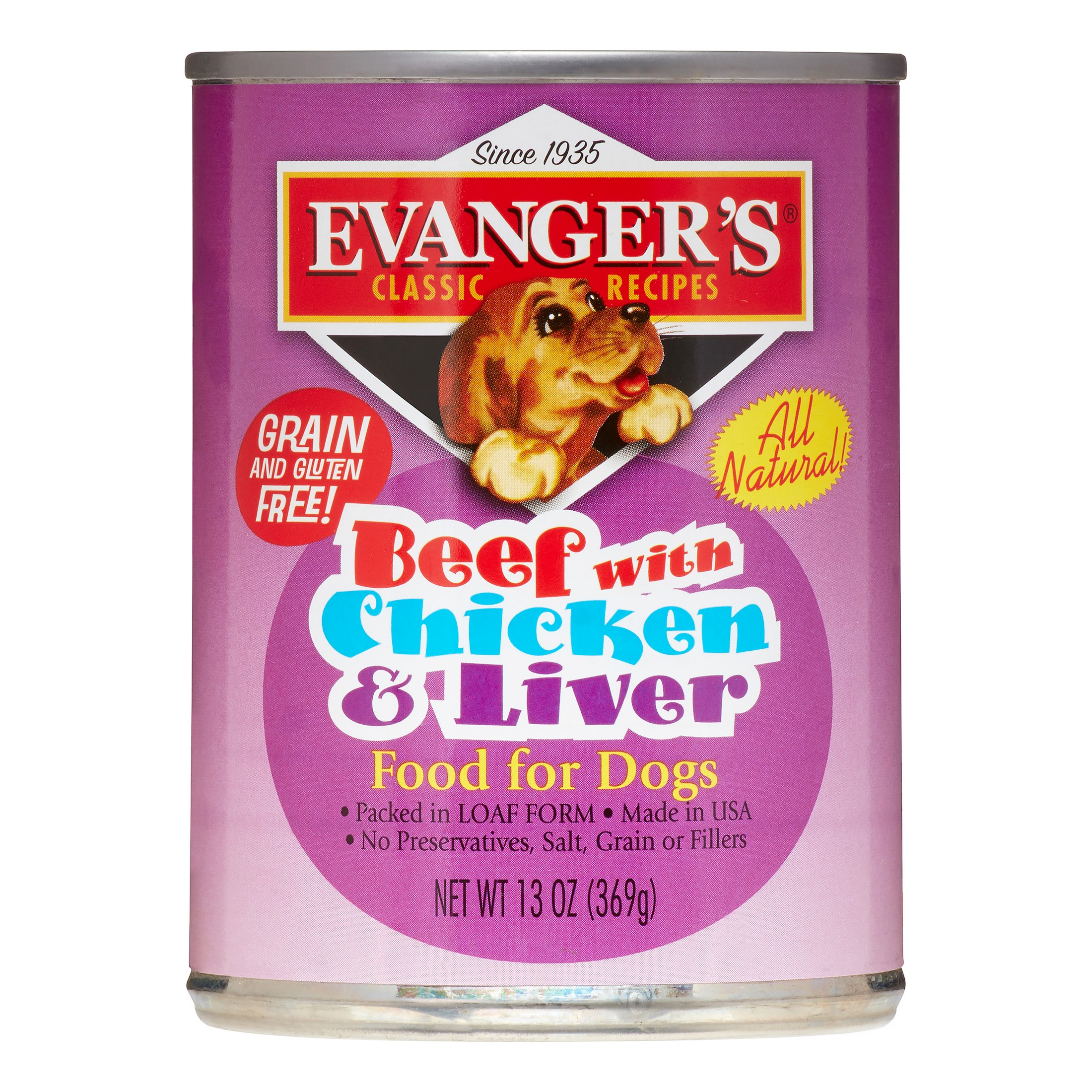 Evanger's Classic Recipes Grain-Free Beef with Chicken & Liver Wet Dog Food, 13 Oz