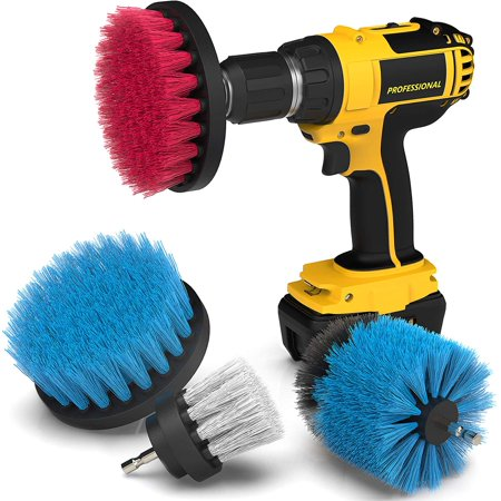 GLiving Drill Brush Scrub Brush Drill Attachment Kit - Drill Powered Cleaning Brush Attachments - Time Saving Cleaning Kit - Great for Cleaning Pool Tile, Flooring, Brick, Ceramic, and (Vitrex Grout Clean Up & Polishing Kit)