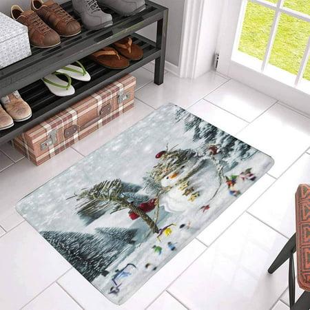 POP Snowman and People in Pine Woods During Winter Doormat Non Slip Indoor/Outdoor Floor Mat Home Decor Entrance Rug 30x18 inches - image 2 of 3