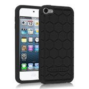 Fintie iPod Touch 6 / iPod Touch 5 Case - [Kids Friendly] Shock Proof Anti Slip Silicone Protective Cover, Black