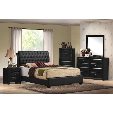 ACME Ireland II Eastern King Bed in Black PU, Multiple (Two Twins To Make A King Bed)