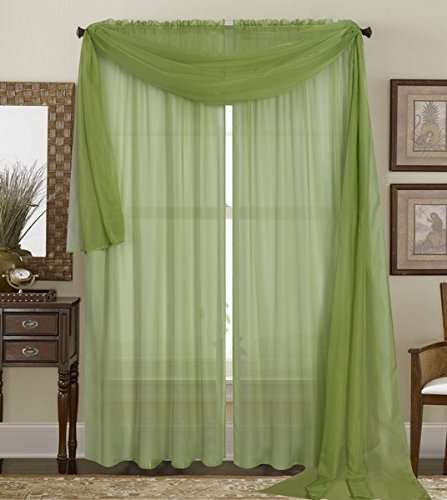 "Qutain Linen Solid Viole Sheer Curtain Window Panel Drapes Set of Two (2) 55"" x 84 inch - Sage Green"