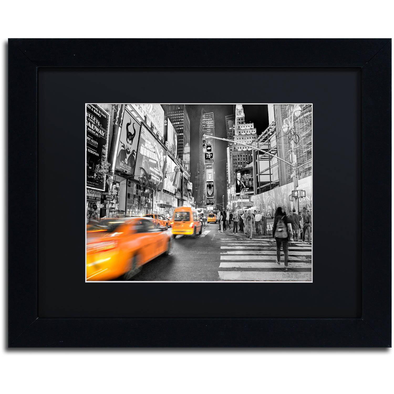"""Trademark Fine Art """"Times Square"""" Canvas Art by David Ayash Black Matte, Black Frame"""