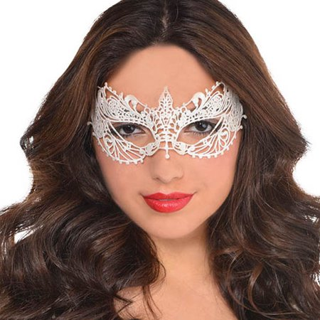 Halloween Adult White Lace Eye Mask (1ct) (White Eye Mask Halloween)