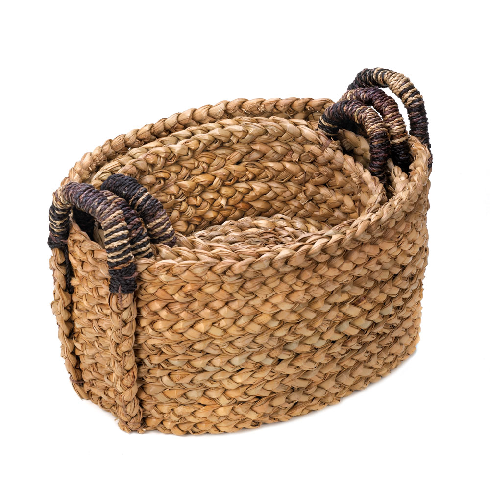 Basket Storage Bins, Big Wicker Organizer Baskets, Straw (set Of 3) by Accent Plus