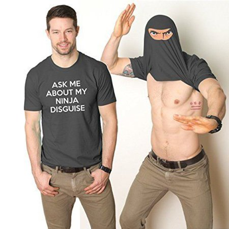 Ask Me About My Ninja Disguise Fashion Funny Personalized Flip Over Ninja Face Bears Printing Short Sleeve Flip up T-shirt Tee
