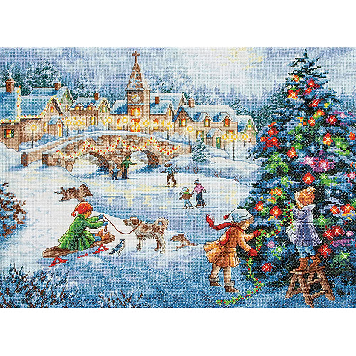 "Gold Collection Winter Celebration Counted Cross Stitch Kit, 16"" x 12"", 16-Count"