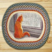 "Earth Rugs 65-250WC Window Cat Oval Design Rug, 20 by 30"", Braided, Light Blue/Sage Green/Orange"