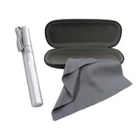 Eyeglasses Case Set, Includes Eyeglass Case, Eyeglass Cleaner Spray, and Microfiber Cloth, Great for All Eyewear and Sunglasses, Silver, By OptiPlix