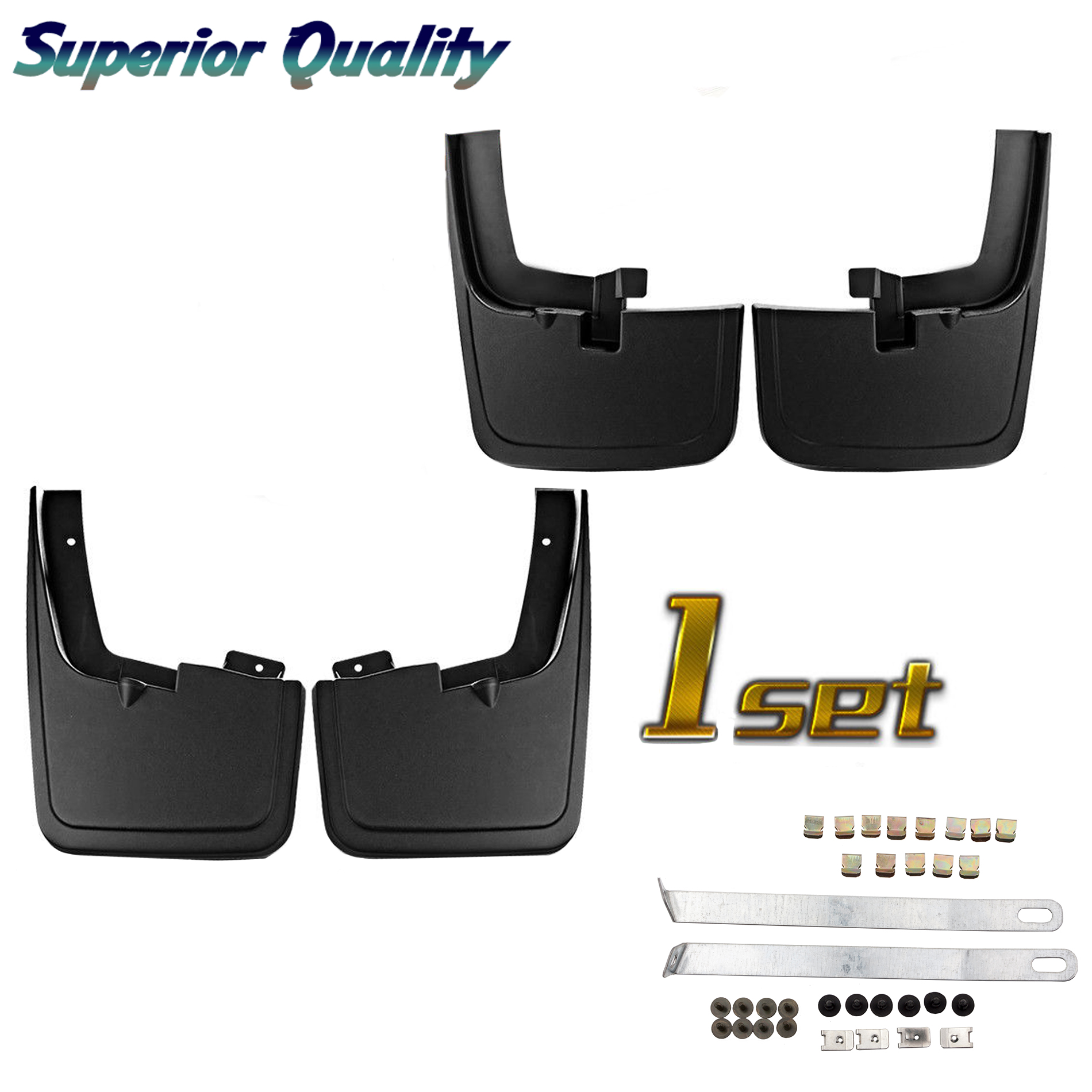CF Advance For 15-18 For 2015-2018 Ford F-150 Front Rear Left Right Black Molded Splash Guards Mud Flap Set of 4pcs 2015 2016 2017 2018