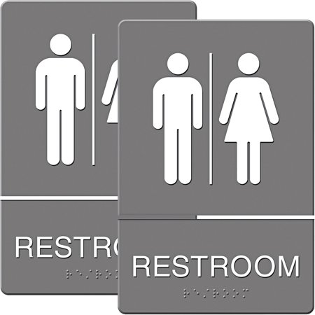 Headline Sign ADA Sign, Restroom Symbol Tactile Graphic, Molded Plastic, 6; x 9;, Gray, Bundle of 2