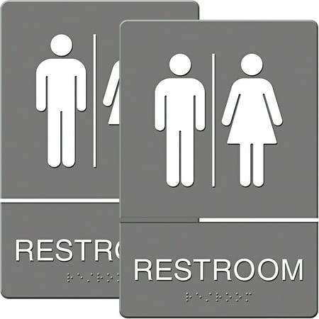 Headline Sign ADA Sign, Restroom Symbol Tactile Graphic, Molded Plastic, 6; x 9;, Gray, Bundle of 2