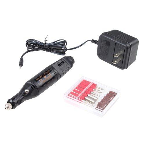 AGPtek Black Electric Manicure pedicure machine Nail Art File Drill Pen 6 Bits