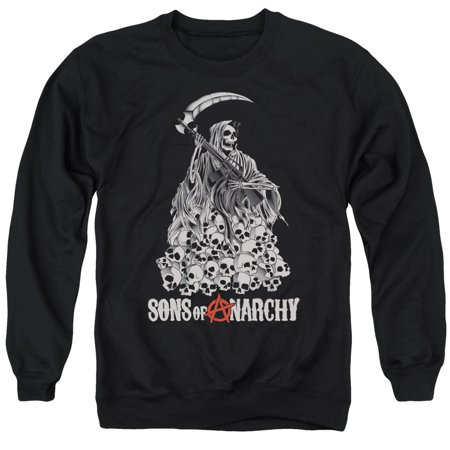 Sons of Anarchy Reaper Pile of Skulls Adult Crew Sweatshirt Hooded - Hooded Reaper