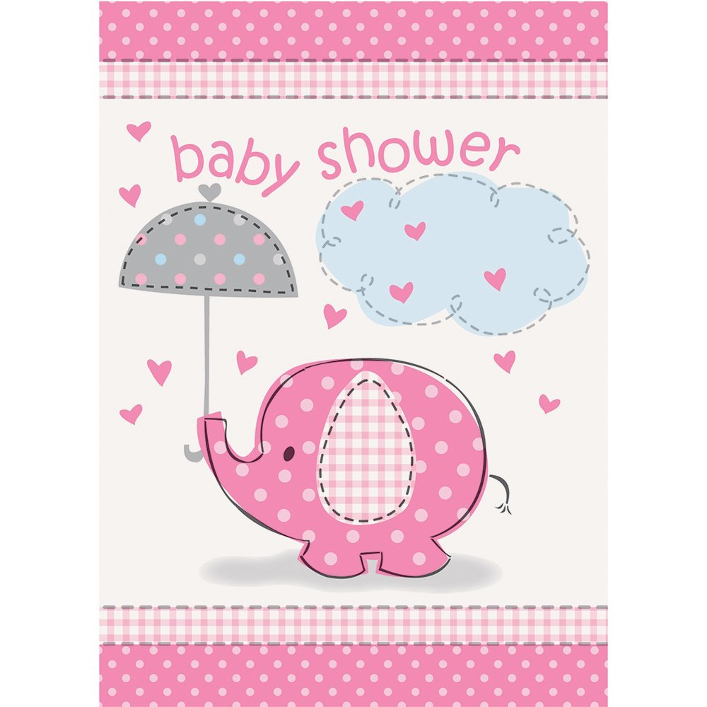 Pink Elephant Girl Baby Shower Invitations 8ct Walmart