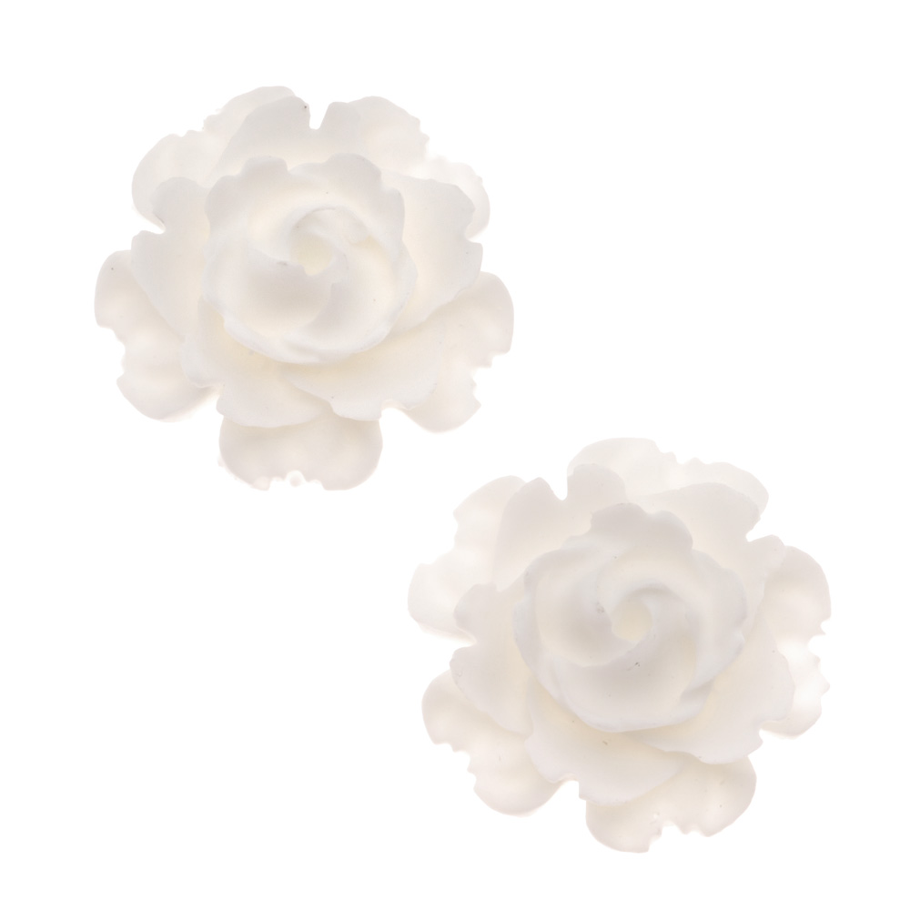 Lucite Flower Blooming Rose Cabochons Opaque White 23mm (2)