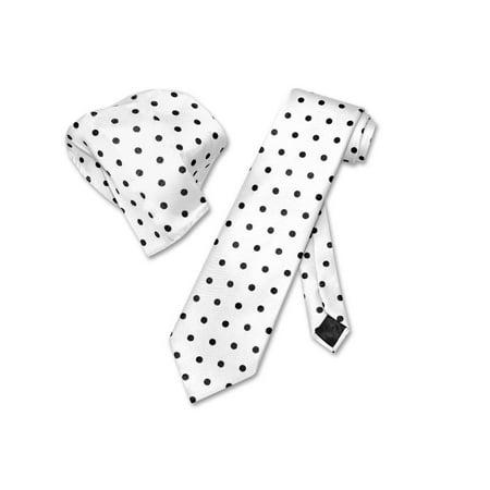 Vesuvio Napoli WHITE w/ BLACK Polka Dots NeckTie Handkerchief Matching Tie Set](Polkadot Tie)