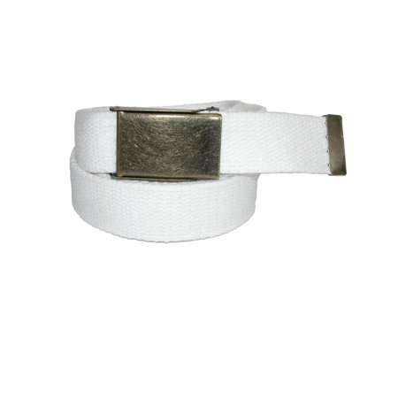 Size one size Men's Fabric Belt with Brass Flip Top Buckle
