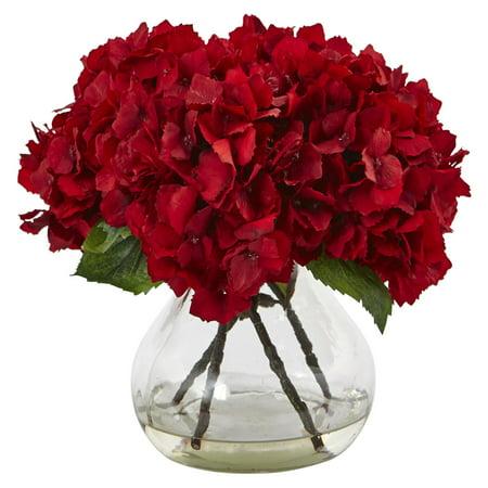 Nearly Natural Red Hydrangea with Vase Silk Flower Arrangement ()